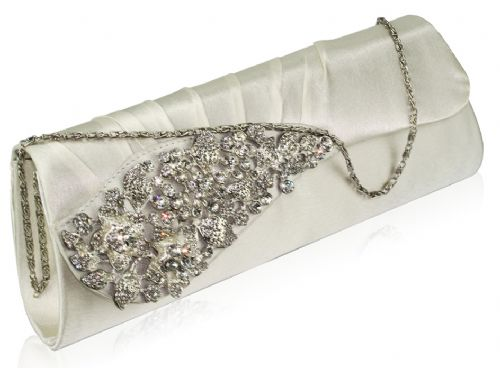 Silver Satin Clutch Bag Crystal, silver evening bag
